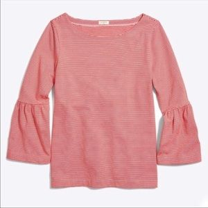 NWT J Crew Striped Bell Sleeve T-shirt Red XL